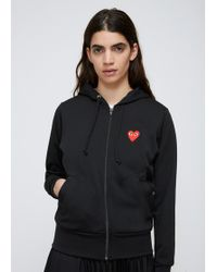 COMME DES GARÇONS PLAY - Black Red Heart Zip Hooded Sweatshirt - Lyst