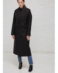Yang Li   Black W/ Black Collar Double Breasted Overcoat   Lyst
