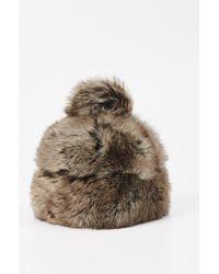 Grevi - Natural Fur Beanie Pom Pom - Lyst