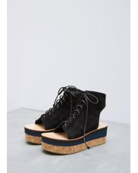 Ports 1961 - Black Lace Up Cutout Wedge - Lyst