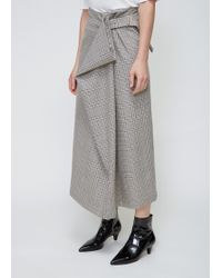Viden - Plaid Skirt With Front Fold - Lyst