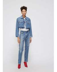 RE/DONE - Reconstructed Cropped Denim Jacket - Lyst