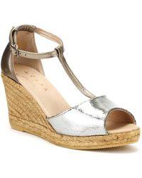 Cara - Womens Graphite Grey Metallic Gota Wedge Sandals - Lyst