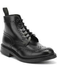 Loake Mens Black Calf Bedale Brogue Boots