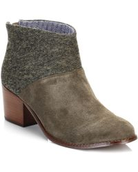 TOMS - Womens Tarmac Olive/herringbone Green Leila Bootie Ankle Boots - Lyst