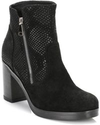TOWER London - Tower Womens Black Mesh Suede Ankle Boots - Lyst