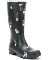 Joules - Womens French Grey Dogs Roll Up Wellies - Lyst