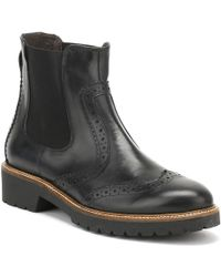 Cara | Womens Jet Black Leather Sepia Brogue Chelsea Boots | Lyst