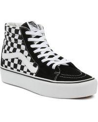Vans - Womens Black / True White Checkerboard Sk8-hi Platform Trainers - Lyst