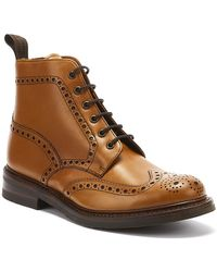 Loake Men's Leather Wide Fit Brogue Boots - Brown
