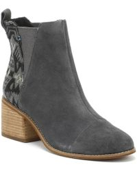 TOMS - Esme Womens Grey Jacquard Suede Boots - Lyst