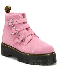 Dr. Martens - Dr. Martens Womens Lazy Oaf Pink Buckle Boots - Lyst