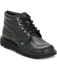 Kickers - Kick Hi Mens Black Leather Ankle Boots - Lyst