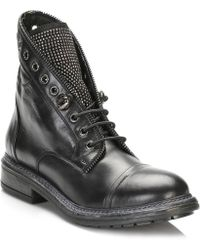 TOWER London - Tower Womens Black Leather Ankle Boots - Lyst