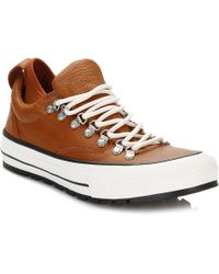 0928717f5223 Converse - All Star Descent Mens Antique Sepia Quilted Leather Trainers -  Lyst