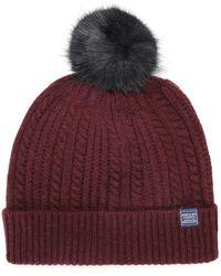 Joules - Faux Fur Bobble Pom Pom Beanie Hat - Lyst
