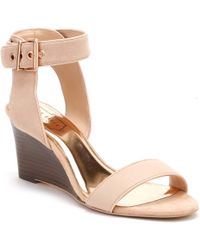 Ted Baker - Womens Light Pink Suede & Leather Lernox Wedge Sandals - Lyst