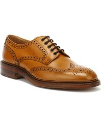 Loake Mens Tan Chester 2 Brogue Derby Shoes