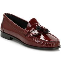 Tower London | Tower Womens Burgundy Patent Leather Tassel Loafers | Lyst
