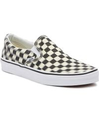 7b33a44148 Vans - Classic Slip-on Black Blur Checkerboard Trainers - Lyst