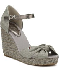 0b33bb840a6f58 Tommy Hilfiger - Womens Light Grey Metallic Elena Wedge Sandals - Lyst