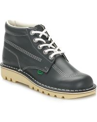 Kickers - Mens Kick Hi Core Navy/natural Leather Boots - Lyst