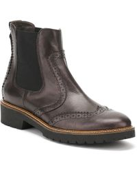 Cara - Womens Coal Metallic Leather Sepia Brogue Chelsea Boots - Lyst