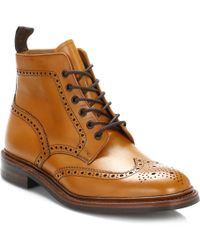 Loake - Mens Tan Burford Dainite Calf Leather Brogue Boots - Lyst