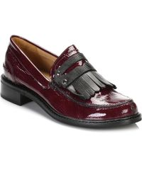 TOWER London - Tower Womens Burgundy Patent Leather Loafers - Lyst