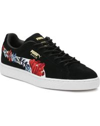 PUMA - Womens Black Suede Classic Embroidery Trainers - Lyst