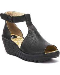 Fly London - Yola Womens Black Leather Wedge Sandals - Lyst