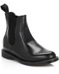 Dr. Martens - Dr. Martens Flora Womens Black Polished Smooth Leather Boots - Lyst