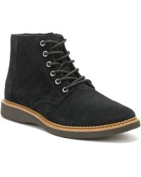 TOMS - Mens Black Suede Porter Boots - Lyst
