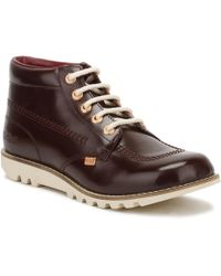 Kickers - Womens Dark Burgundy Leather Kick Hi Boots - Lyst