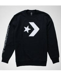 Converse - 10006434 Star Chev Grphc Crew Black Jumpers & Cardigans - Lyst
