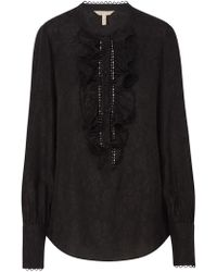 Rebecca Taylor - Long Sleeve Floral Cloque Ruffle Top In Black - Lyst
