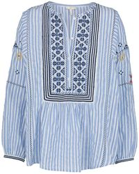 Joie - Archana Stripe Embroidered Top In French Blue - Lyst
