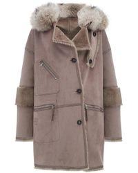 Urbancode - Azza Faux Fur Reversible Hooded Duffle Coat In Praline - Lyst