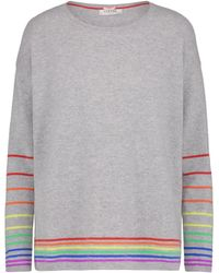 Cocoa Cashmere - Rainbow Stripe Jumper In Grey - Lyst