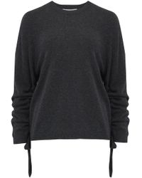 Autumn Cashmere - Crew Neck Jumper With Drawstring Sleeves In Pepper - Lyst