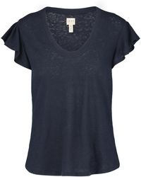 Rebecca Taylor - Washed Textured Jersey Top In Navy - Lyst