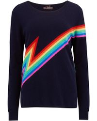 Cocoa Cashmere - Rainbow Bolt Jumper In Navy - Lyst