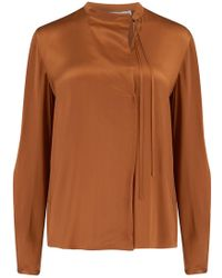 Vince - Tie Neck Popover Blouse In Copper - Lyst