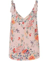 Rebecca Taylor - Marlena Floral Tank Top In Dusty Rose - Lyst