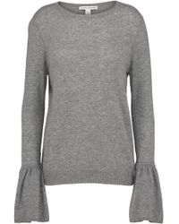Autumn Cashmere - Crew Neck Jumper With Ruffle Sleeve In Cement - Lyst
