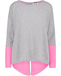 Cocoa Cashmere - Zip Back Colour Block Jumper In Grey And Candy - Lyst