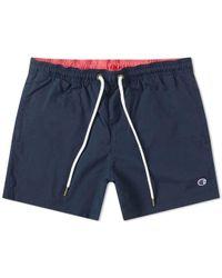 Champion - Reverse Weave Classic Swim Short Navy And Fluro Pink - Lyst