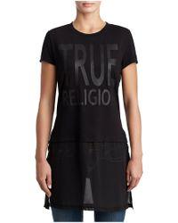 True Religion - Sheer Layered Logo Tunic - Lyst