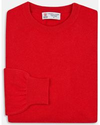 Turnbull & Asser - Bright Red Crew Neck Cashmere Jumper - Lyst