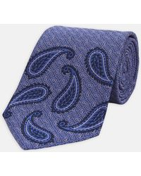 Turnbull & Asser - Placement Paisley Blue And Lilac Silk Tie - Lyst